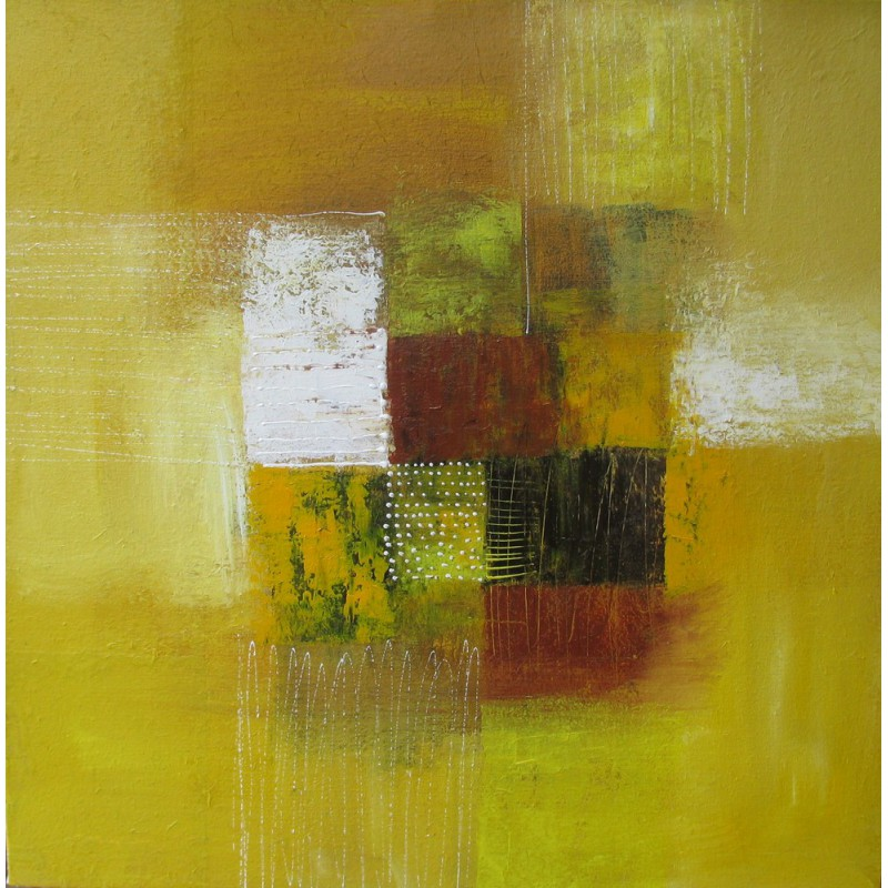 Tableau abstrait contemporain carr jaune moutarde 80x80 for Tableau grand format abstrait