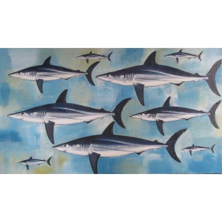 Tableau horizontal requins sur fond bleu- 140x80 cm