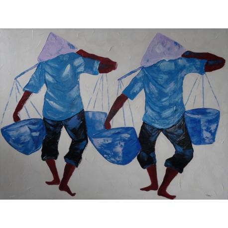 Tableau paysan asiatique 1 peinture personnages paysans asiatiques 120x90 cm
