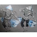 Peinture personnages paysans Balinais- 120x90 cm