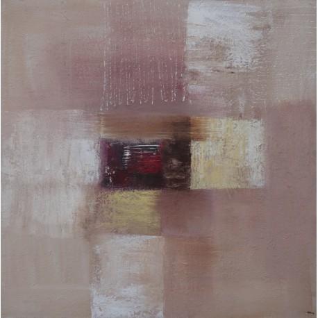 Tableau abstrait marron clair et brun, peinture unique 80x80 cm