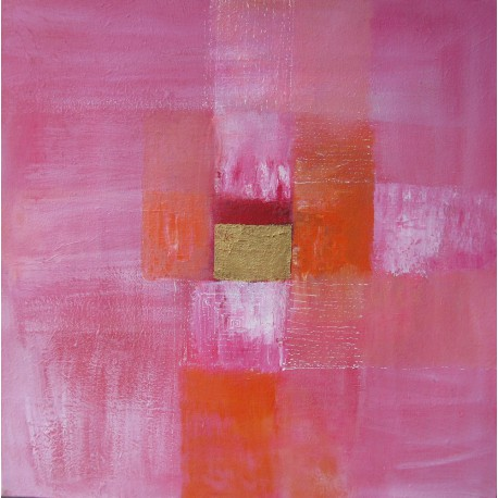 Tableau abstrait contemporain carré rose- 80x80-Suarsa
