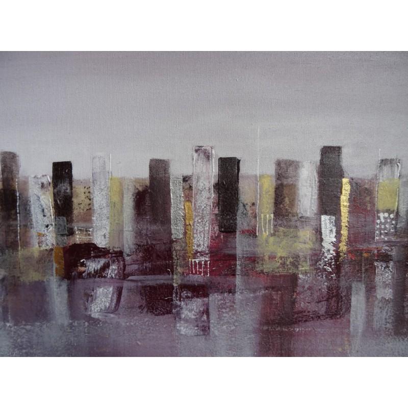 Purple city peinture ville d co contemporain 125x85 suarsa for Tableau deco contemporain