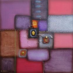 Tableau abstrait contemporain violet -60x60 cm