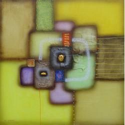 Tableau abstrait contemporain jaune -60x60 cm