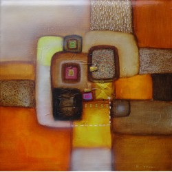 Tableau abstrait contemporain orange et brun 60x60 cm