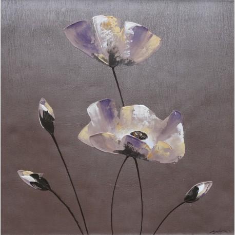 Tableau déco zen fleurs sur fond gris - 60x60 cm-
