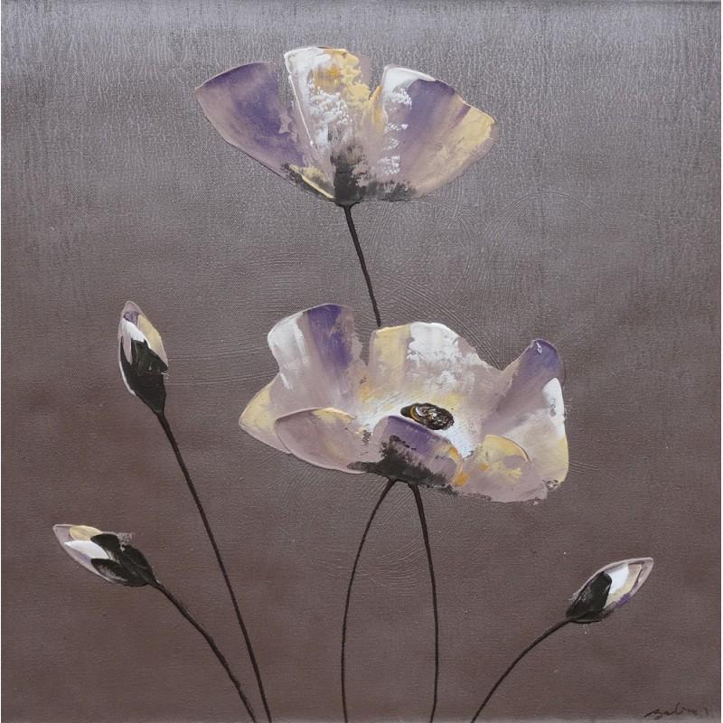 Tableau Deco Zen Fleurs Sur Fond Gris 60x60 Cm