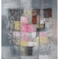 Tableau triptyque carré gris-120x115- Suarsa