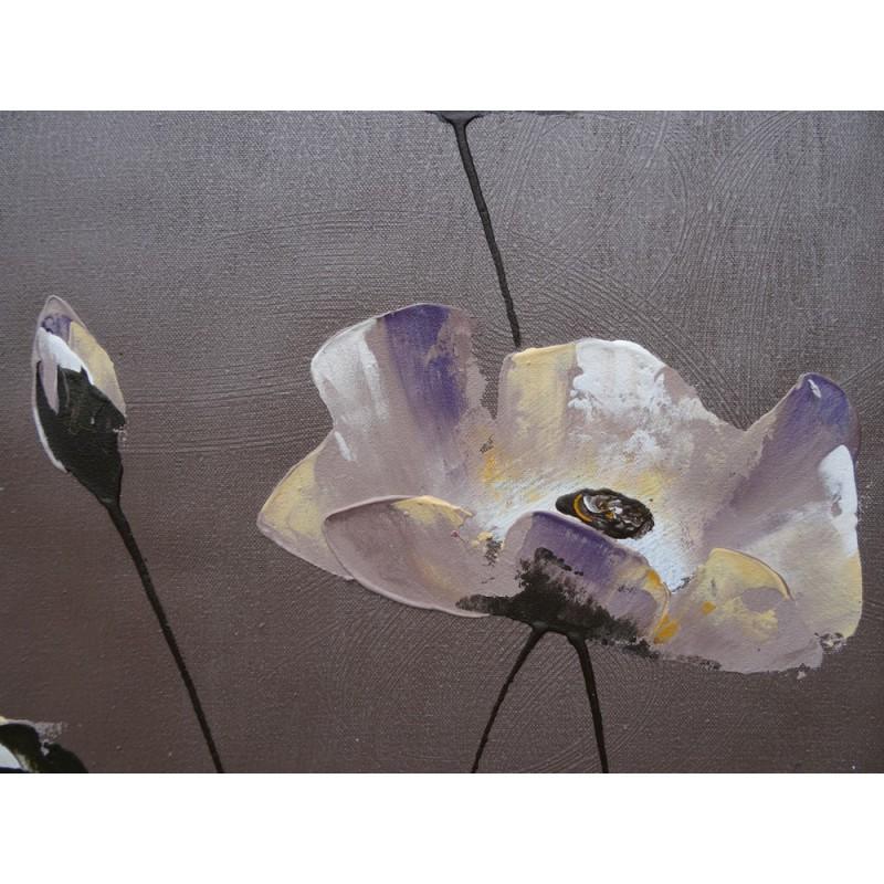 tableau d co zen fleurs sur fond gris 60x60 cm. Black Bedroom Furniture Sets. Home Design Ideas