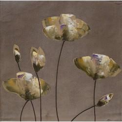 Tableau déco zen fleurs sur fond gris-brun - 60x60 cm