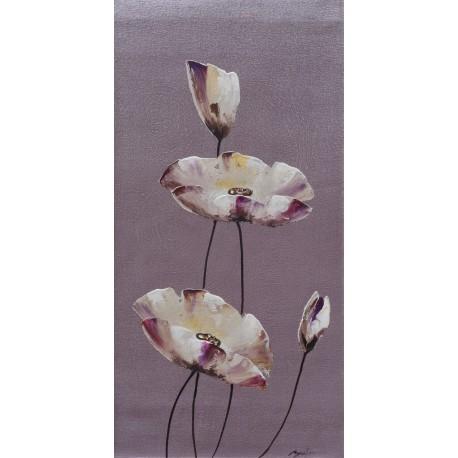 Tableau déco zen fleurs et fond gris -70x35 cm- Budi