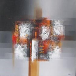Tableau abstrait carré gris- 70x70 cm