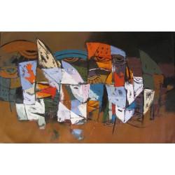 Tableau horizontal masques colorés-fond marron- 140x90 cm