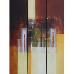 Tableau triptyque ton marron- 120x90 cm