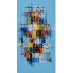 TABLEAU ABSTRAIT MOSAIQUE DE COULEURS-150x80 cm