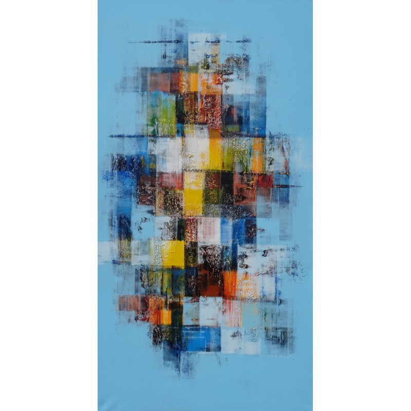 Idee deco bureau tableau abstrait mosaique de couleurs 150x80 cm for Photo de tableau abstrait