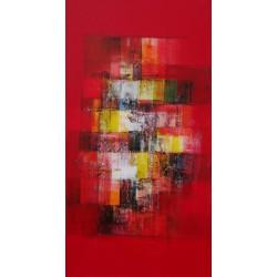 TABLEAU VERTICAL  JAUNE-BLANC-NOIR SUR FOND ROUGE- 150x80 cm