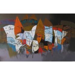 Tableau horizontal masques colorés-fond brun-gris- 140x90 cm