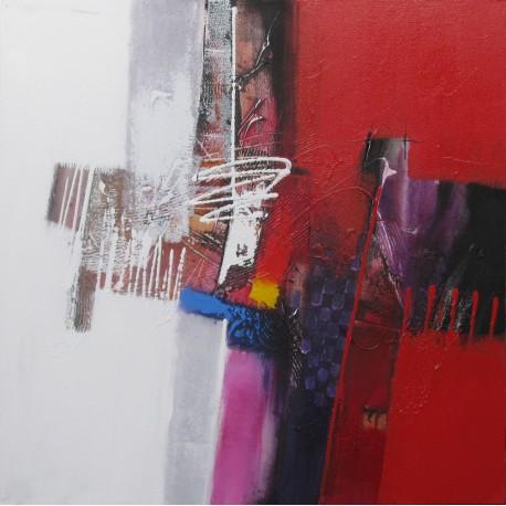 tableau abstrait contemporain ton blanc rouge 80x80 sumadi. Black Bedroom Furniture Sets. Home Design Ideas