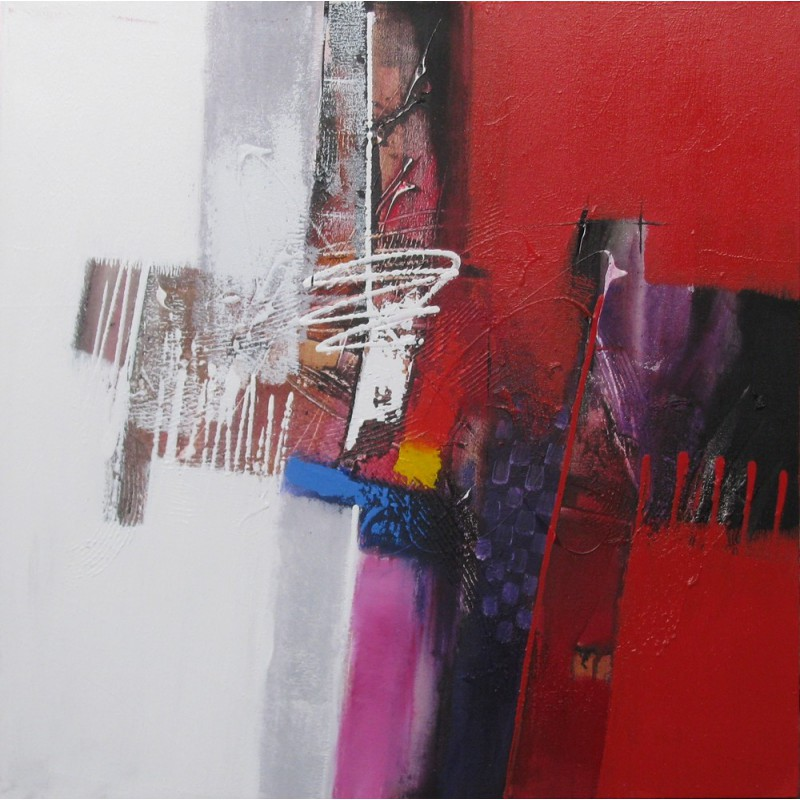 Tableau Abstrait Contemporain Ton Blanc Rouge 80x80 Sumadi