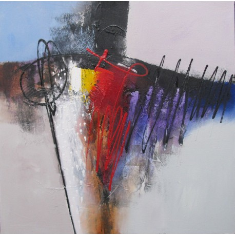 Sumadi tableau abstrait graphique contemporain 80x80 cm - Tableau contemporain abstrait design ...