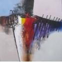 Sumadi - Tableau abstrait graphique contemporain 80x80 cm