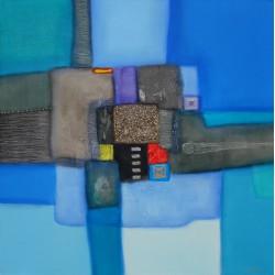 Tableau couleur bleue abstrait -100x100 cm
