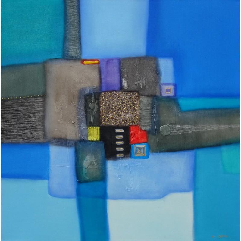 Tableau style retro vintage couleur bleue abstrait 100x100 cm - Peinture carre couleur ...