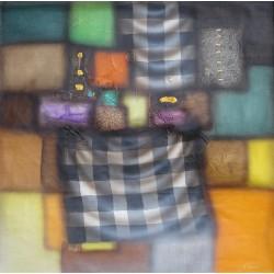 Tableau abstrait contemporain damier 80x80 cm