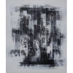 TABLEAU ABSTRAIT CONTEMPORAIN-TON BLANC-NOIR-120x100 cm