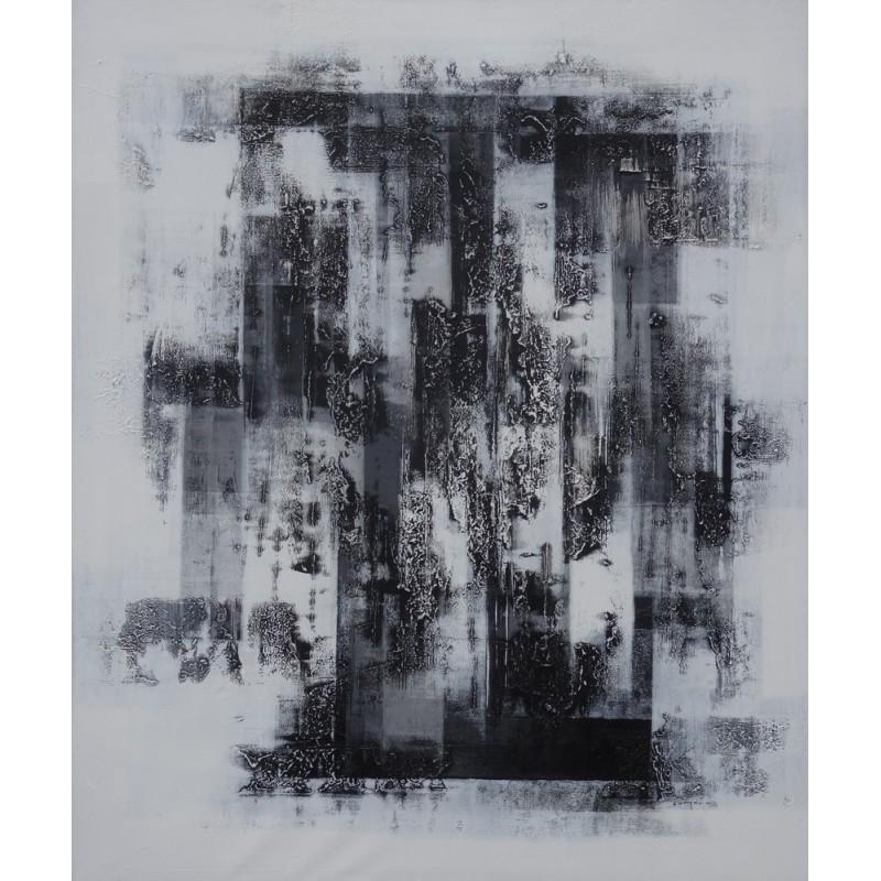 Toile moderne noir et blanc 20171001000903 - Tableau contemporain abstrait design ...