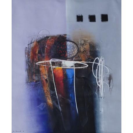 TABLEAU GRAPHIQUE MODERNE- TON BLEU-GRIS-120x100 cm- Sumadi