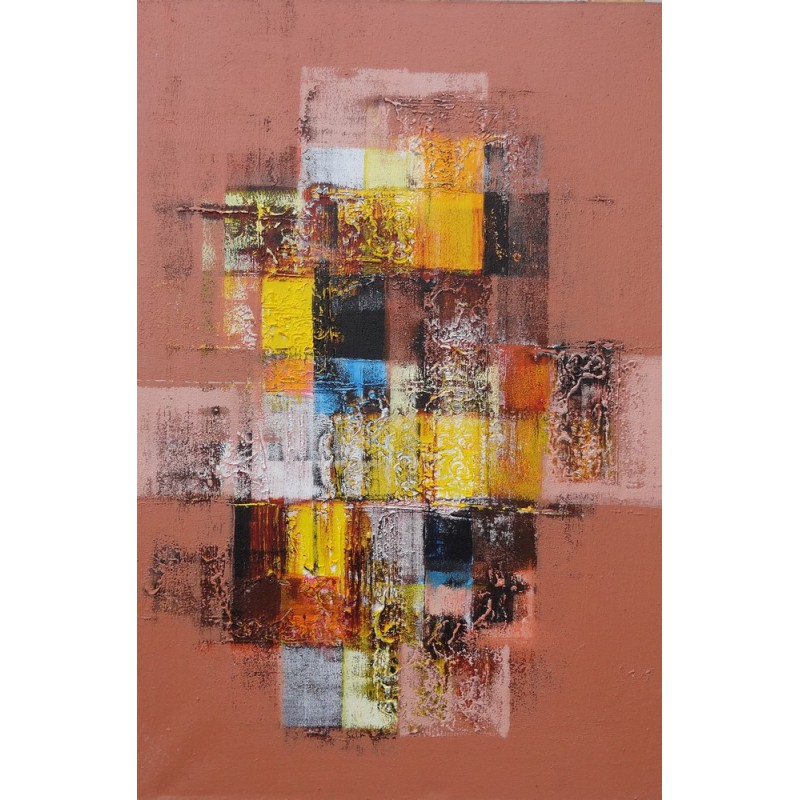 Tableau abstrait contemporain ton brun 60x40 cm for Tableau contemporain abstrait
