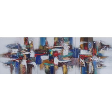 Tableau triptyque abstrait- 180x60 cm- Darsana