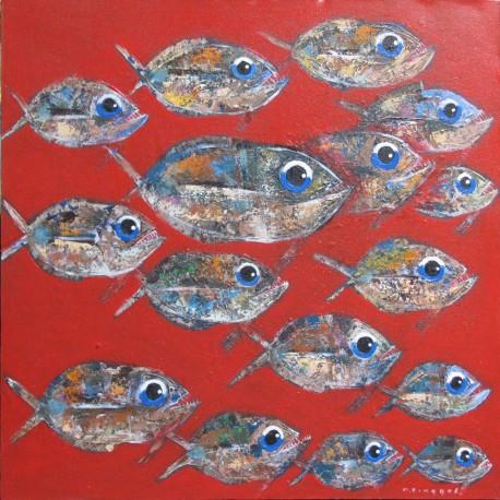 Banc de poissons sur fond rouge- 100X100 cm- Tinggal