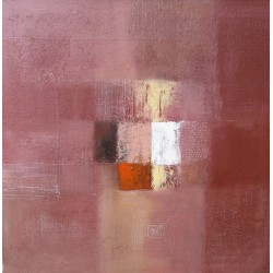 Tableau abstrait contemporain marron acajou- 100x100 cm