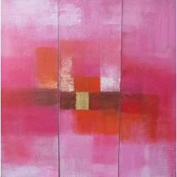 Toile triptyque carré rose- 90x90- Suarsa