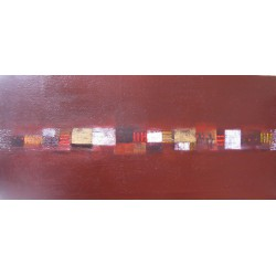 Tableau abstrait contemporain horizontal marron-  150x70 cm