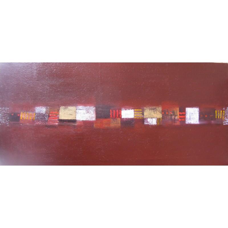 Tableau abstrait contemporain horizontal marron 150x70 cm - Tableau abstrait contemporain ...