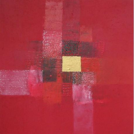 Toile contemporaine carrée rouge -90x90 - Peintre  Suarsa
