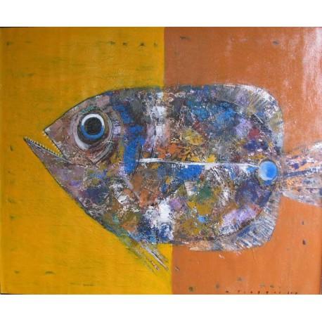 Gros poisson tableau peinture grand format 120x100 cm tinggal - Tableau peinture grand format ...
