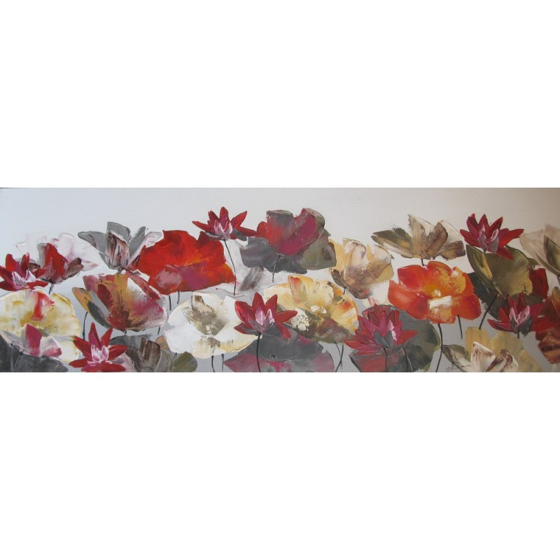 Tableau d coration murale fleurs de lotus 150x50 cm horizontal for Decoration murale ville