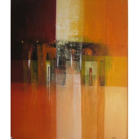 Tableau abstrait ton brun orange déco murale salon - 120x100 cm