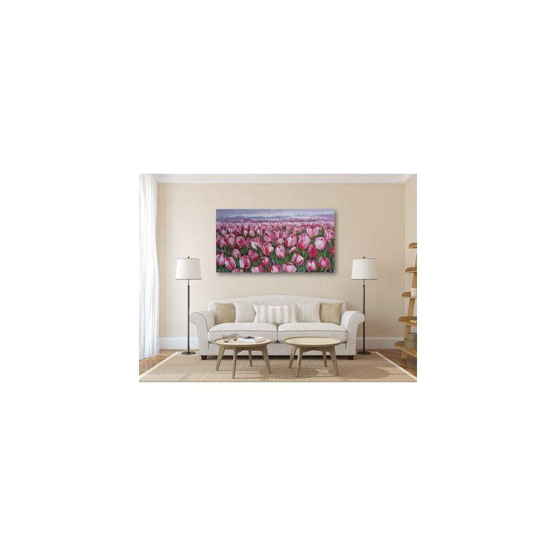 Tableau contemporain colore tulipes roses 150x80 cm - Tableau contemporain colore ...