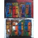 Tableau masques- 90x70 cm- Tinggal