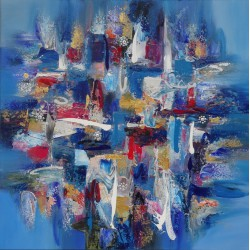 Tableau abstrait carré bleu- 90x90 - Darsana