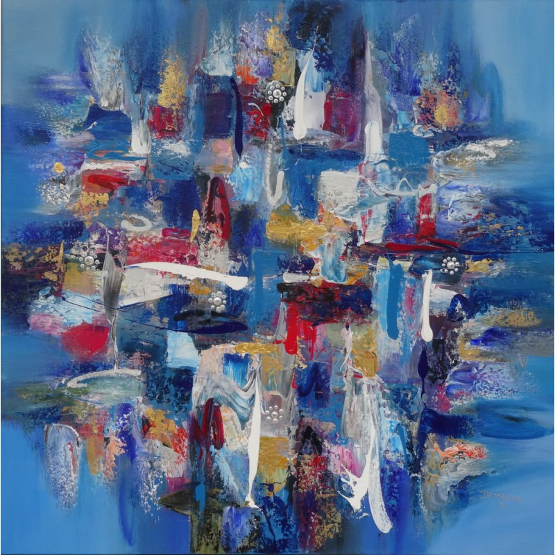 Tableau abstrait carr bleu 90x90 darsana for Photo de tableau abstrait