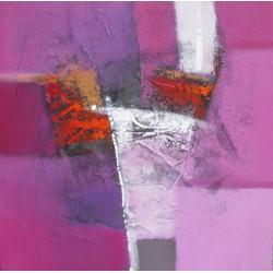Tableau contemporain carré rose-violet- 60x60 cm- Suwitra