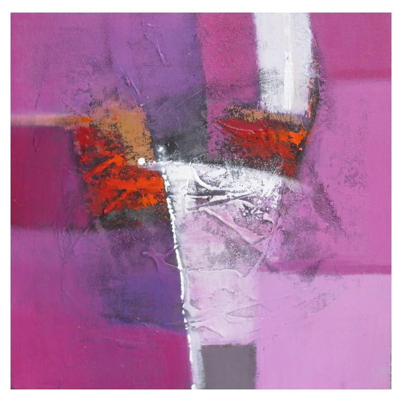 tendance deco 2016 tableau contemporain rose violet 60x60. Black Bedroom Furniture Sets. Home Design Ideas
